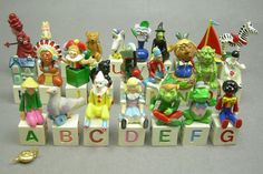 A Complete Set of Hantel Victorian Miniatures Pewter Alphabet Blocks and Toys