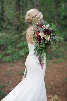 Gorgeous Forest Bride with a Burgundy Bouquet | Ashley Cook Photography | Jewel Toned Autumn Woodland Wedding Shoot