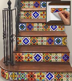 Stair Riser Vinyl Strips Removable Sticker Peel & Stick : Spanish Mexican Decorativa-m Tile Stairs, Basement Stairs, Mosaic Stairs, Mexican Home Decor, Mexican Hacienda Decor, Mexican Style Homes, Tile Decals, Stair Risers, Spanish Style