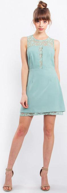 - NEW IN - Sunday Mint Dress features a mint dress with a sheer lace detailing at front and back and hem + an exposed open back.  #streetstyle