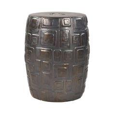 Cambeck Stool by ELK Home Ceramic Garden Stools, Urban Industrial, Elk, Earthenware, Modern Contemporary, Black Gold, Bronze, Ceramics, Squares