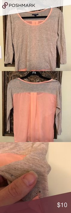 American Eagle Outfitters 3/4 length tee. Cute coral and heather beige color. I never wore it as it was too small. A friend gave it to me and she wore it only a few times.  I added a picture of the only flaw I can find.  Top is pretty sheer. American Eagle Outfitters Tops Blouses