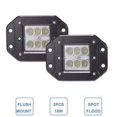 Promo 18W Flush Mount Led Work Light 12V 24V Rear Fog Lamp 4X4 Offroad Trailer Truck Atv Car Pickup #Truck #Bumpers