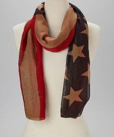 Look at this #zulilyfind! Beige & Red Rhinestone Eagle American Flag Scarf #zulilyfinds