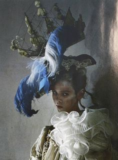 """""""Lady Grey"""" by Tim Walker. I wonder why women are ofthen painted or photographed with ships on their head?"""