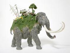Des mondes à dos de figurines danimaux paysage miniature dos animaul figurine 06