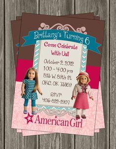 American Girl Birthday Invitation by LittleDoodlePrints on Etsy, $10.00