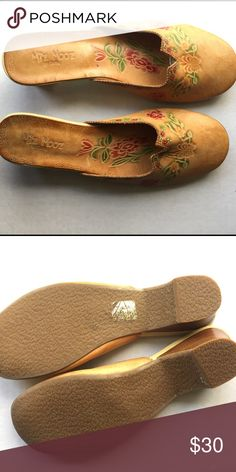"""Miz Mooz Aztec floral mules Miz Mooz Aztec style floral mules in great condition. Small 2"""" heel. 100% leather upper. Leather lining. Size 40 EU which is typically a 9, but I learned from online research that miz Mooz run 1/2 to a whole size small, so I have them listed as a size 8 US. Miz Mooz Shoes Mules & Clogs"""