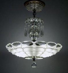 Vintage Art Deco Crystal Glass Ceiling Lamp Light Fixture Antique Chandelier | eBay