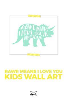 Dinosaur Kid Print, Rawr Means I Love You, Dinosaur Nursery Decor, Boy Nursery Decor, Triceratops print, Dinosaur Wall Art, Dino - pinned by pin4etsy.com