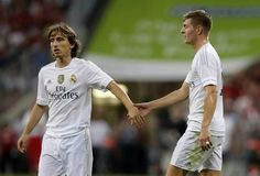 Luka Modric and Toni Kroos. Audi Cup final 5.8.15