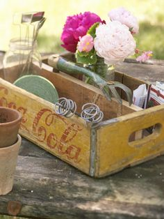 Old wooden coke crate