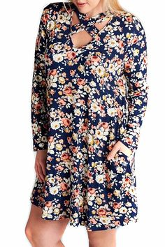 Floral print rayon spandex knit dress with long fitted sleeves and a flared body. Finished with side pockets this dress features a rounded V neckline trimmed with crisscross straps that create a flirty choker effect. Floral Plus Dress by Oddi. Clothing - Dresses - Casual Alabama