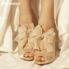 Image detail for -WOMEN'S BAKERS PEARL VINTAGE WEDDING SILK SATIN PUMPS CHAMPAGNE