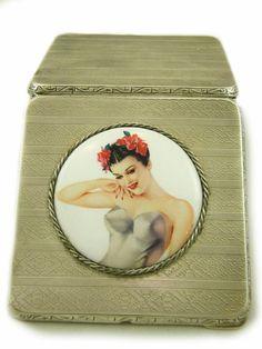 Art Deco Cigarette Case Sterling Silver Dated and Hallmarked 1926 Birmingham RN Maker, Vargas Girl Tobaccian Case