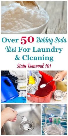 Here is a round up of over 50 baking soda uses for around the home, including for laundry, stain removal and baking soda cleaning tips. You can also share your own tips and uses. Deep Cleaning Tips, House Cleaning Tips, Spring Cleaning, Cleaning Hacks, Cleaning Products, Cleaning Recipes, Green Cleaning, Cleaning Solutions, Baking Soda Drain Cleaner