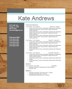 resume template package instant download microsoft word document cover letter thank you note blue bar