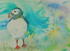 Original Watercolour Puffin painting - hand made, ready to frame Watercolor Sunset, Watercolor Paper, Mount Laurel, Shades Of Turquoise, Make Ready, Yellow Eyes, Frame Shop, White Ink, Paintings For Sale