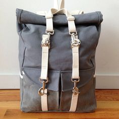 Grey & White Canvas Rolltop Backpack // via taylortailor