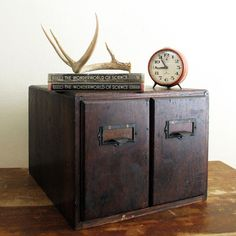Wood Card Catalog : Antique Desktop Two Drawer Weis File Cabinet  Found one at thrift for $7. WooHOo