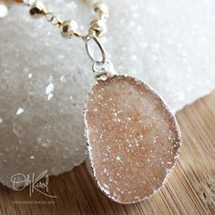 Vancouver BC: Peach Champagne Druzy Slice on Silver Pyrite Necklace - Layering Necklace, $105