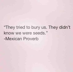 They tried to bury us. They didn't know we were seeds. -- Mexican Proverb