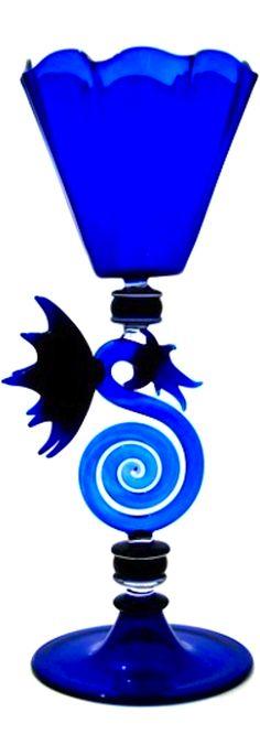 Cobalt Blue Dragon Goblet- Hand Blown Art Glass | The House of Beccaria~