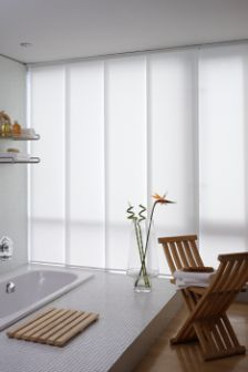Chatsworth White Panel Blind in White. This Panel Blind includes guarantee and child safety features. House Blinds, Blinds For Windows, Curtains With Blinds, Windows And Doors, Window Blinds, Window Panels, Large Windows, Sliding Panel Blinds, White Paneling