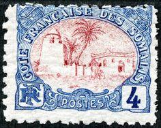 "Somali Coast (French Somaliland) 1902 Scott 36 4c blue & carmine ""Tadjoura Mosque"""