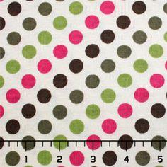 Organic Polka Dots on Cream Cotton Baby Ribbed Knit Fabric