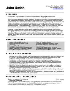 21 Best Construction Resume Templates Samples Images In 2013 Free Resume Sample Resume Cv