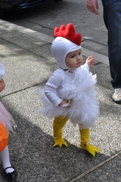 Cute chicken costume.
