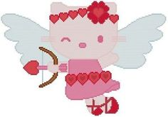 Cross Stitch Knit Crochet Plastic Canvas Waste Canvas Rug Hooking  Bead Work Pattern . This is Hello Kitty as Cupid.  I did this one in all shades of pink and red except for the wings.  This pattern comes printed on 2 pages which is 12 squares per inch of paper. This pattern is 159 X 112 stitches (squares). This pattern uses 11 colors. https://www.pinterest.com/resparkled/