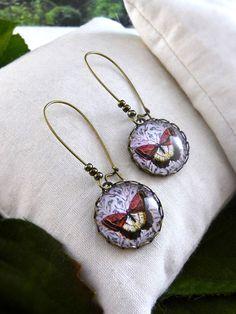 Red butterfly dangle earrings, Forest jewelry, Antique brass earrings, Long dangle earrings, Picture earrings, Glass dome earrings