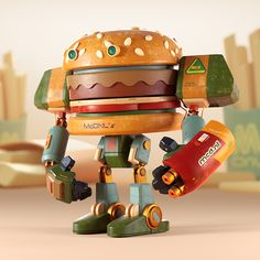 """140 Likes, 10 Comments - Ryogo Toyoda (@ryogotoyoda) on Instagram: """"Burgerbot🍔Swipe to see details and sketch🤖以前のテイストからそろそろ脱却すべく、思考錯誤中。。💪 - - -  #cinema4d #c4d #octane…"""""""