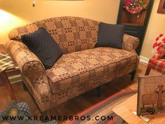 Lovely camel-back country style sofa with a bench seat and chippendale legs! During the month of October we are putting all upholstered pieces on sale. Each of these items can be put it any of our fabrics! Cane Furniture, Porch Furniture, Primitive Furniture, Country Furniture, Furniture Legs, Upholstered Furniture, Furniture Sale, Country Decor, Living Room Furniture
