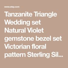Tanzanite Triangle Wedding set Natural Violet gemstone bezel set Victorian floral pattern Sterling Silver rings made to order in your size Wedding Sets, Sterling Silver Rings, Triangle, Victorian, Gemstones, Natural, Floral, Pattern, Etsy