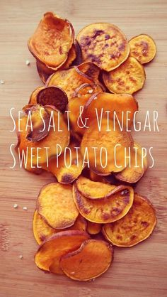 Sweet & Savory Baked Sweet Potato Chips Cinnamon Honey, Sea Salt & Vinegar Simply Taralynn is part of Sweet potato chips baked - I love salt & vinegar chips, so I thought it would be a good idea to make a healthy version Paleo Recipes, Real Food Recipes, Snack Recipes, Cooking Recipes, Yummy Food, Free Recipes, Potato Recipes, Easy Recipes, Think Food