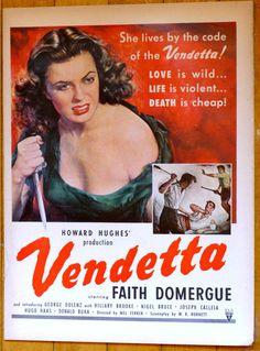 1951 VENDETTA Movie Ad Howard Hughes Faith Domergue