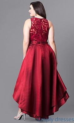 Plus-Size High-Low Prom Dress with Lace and Sequins