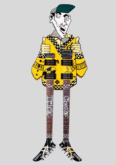 """1983 Hamer """"Uncle Dick"""" double-neck in the shape of Cheap Trick guitarist, Rick Nielsen..."""