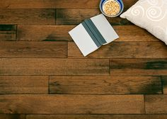 These solid-hickory hand-scraped floors are crafted in the tradition of early American wood floors