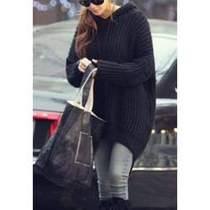 $12.06 Lazy Style Hooded Loose Fit Oversized Long Sleeves Polyester Sweater For Women