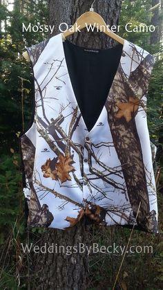 Mossy Oak Snow Camo- man's wedding camo vest- WeddingsByBecky.com