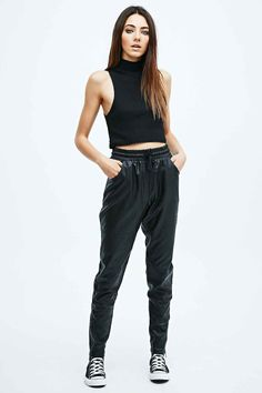 Minkpink Outbound Faux Leather Joggers in Black