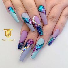 Cute Acrylic Nail Designs, Long Nail Designs, Best Acrylic Nails, Art Designs, Get Nails, Dope Nails, Swag Nails, Stylish Nails, Trendy Nails