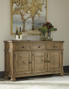 Trishley Casual Light Brown Wood Dining Room Server