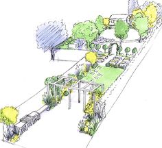 Concept sketch for a  design for a long family garden with a path skirting a round lawn by the house and square stepping stones through a rectangular lawn further away.