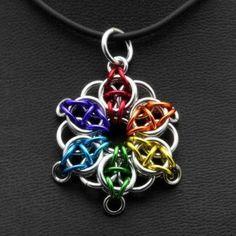 Rainbow Pride Celtic Star Pendant