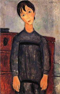 Little Girl in Black Apron - Amedeo Modigliani 1918